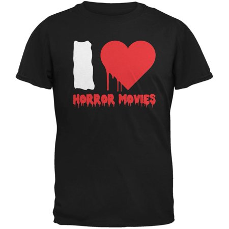 Halloween I Heart Horror Movies Black Adult T-Shirt - Halloween Shirts For Adults