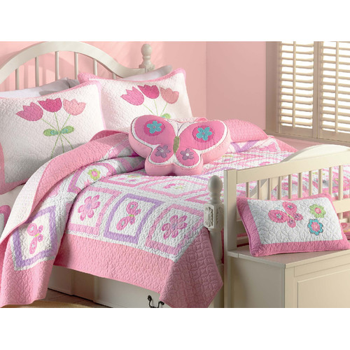 Cozy Line Home Fashion Butterfly Flower 2 Piece Twin Quilt Set