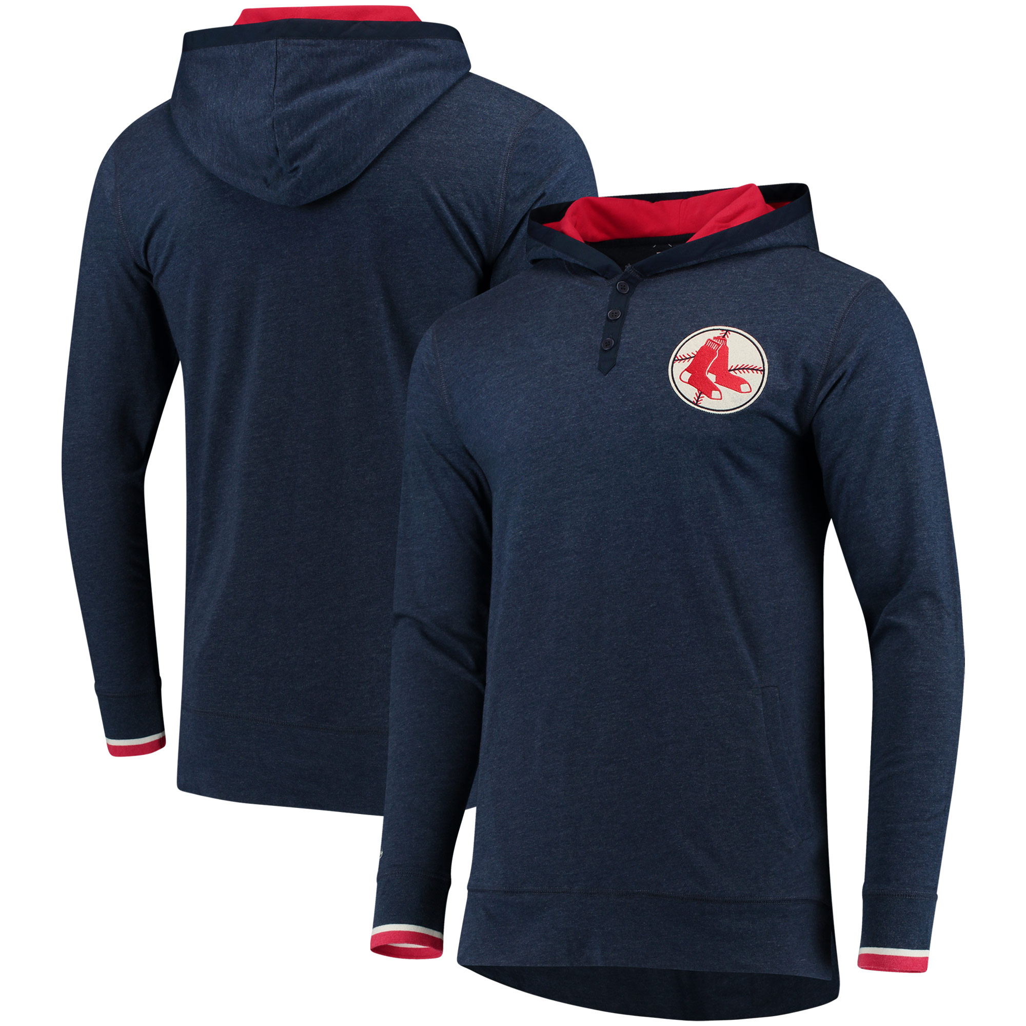Boston Red Sox Mitchell & Ness Seal The Win Long Sleeve Hooded T-Shirt - Navy