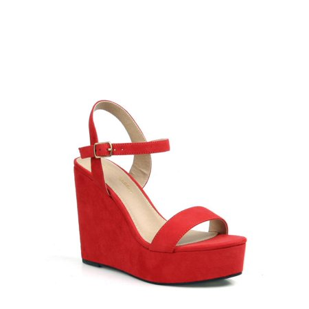 726f13306d3 Mark and Maddux - Mark and Maddux Women s Platform Wedge Sandals in Red -  Walmart.com