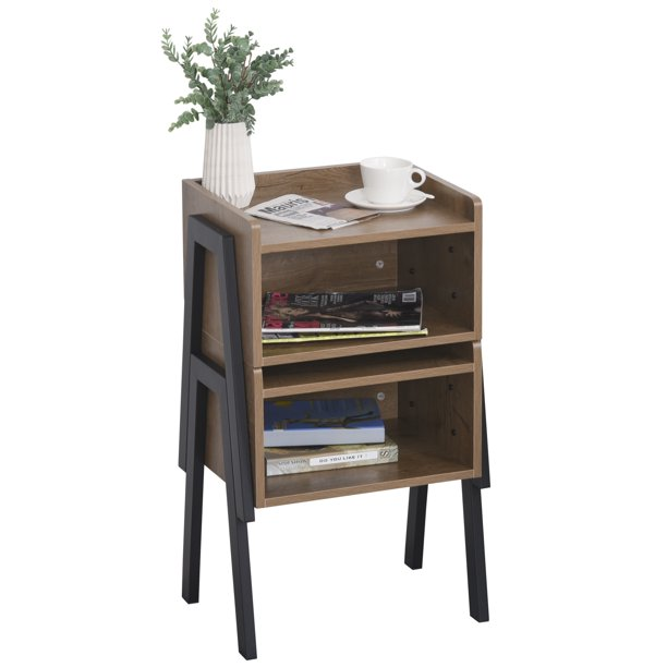 HOMCOM Industrial Set of 2 Stackable Side Tables with Solid Steel Frame Legs, Wide Tabletop, and Open Shelves, Oak
