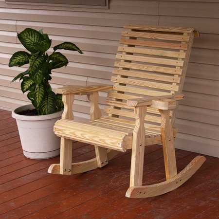 Heavy Duty Rocker Guards - Amish Heavy Duty 600 Lb Roll Back Pressure Treated Rocking Chair With Cupholders (Unfinished)