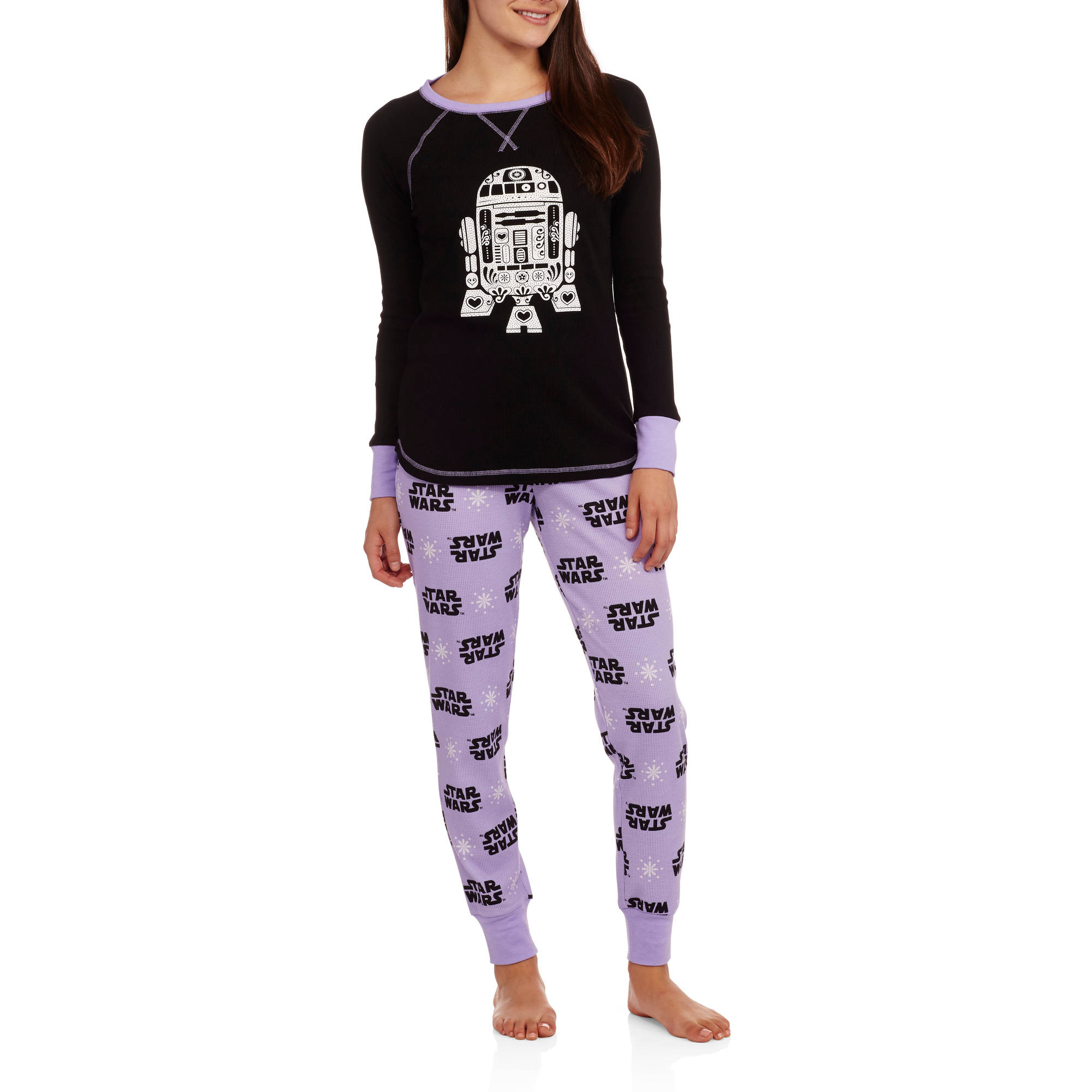 Star Wars Women's License Pajama Thermal Sleep Top and Pant 2 Piece Sleepwear Set