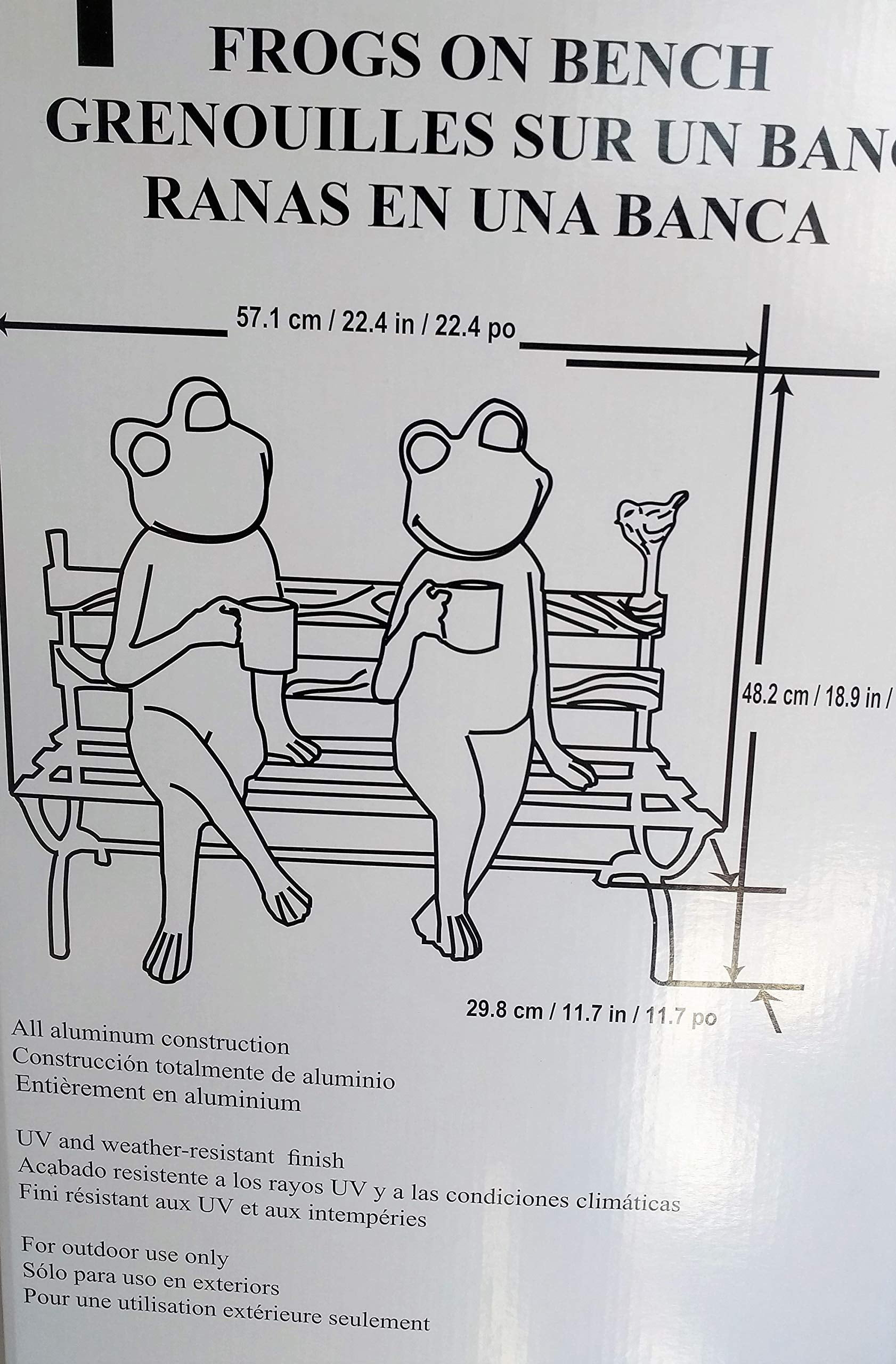 Miraculous Frogs On A Bench Drinking With A Bird Outdoor Decor Extra Large 22 Long X 18 9 Tall Ocoug Best Dining Table And Chair Ideas Images Ocougorg