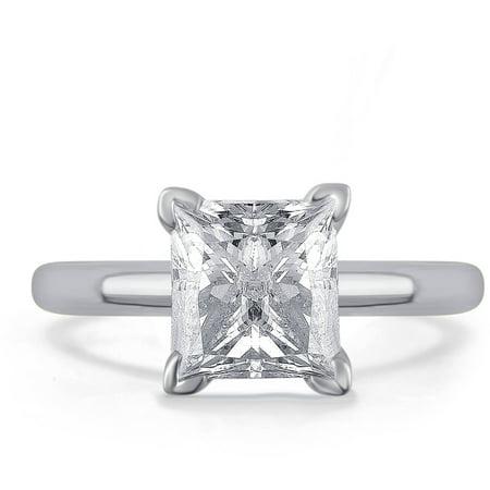 1.5 Carat T.W. Princess White Diamond 14kt White Gold Solitaire Ring, IGL