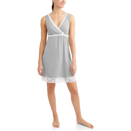 Scoop Neck Nursing Nightgown (Maternity Nursing Full Coverage Sleep Chemise -- Available in Plus)