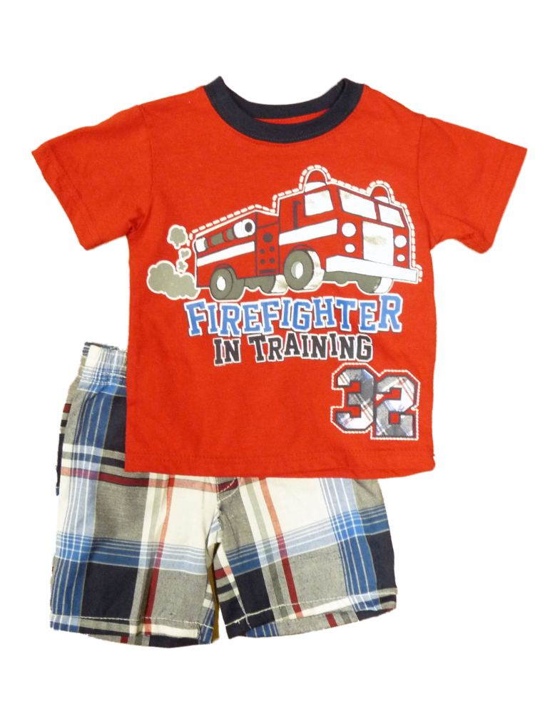 Little Rebels Fire Truck Infant Toddler Boys Red 2 Piece Shirt Shorts Set  - Size - 12 Months
