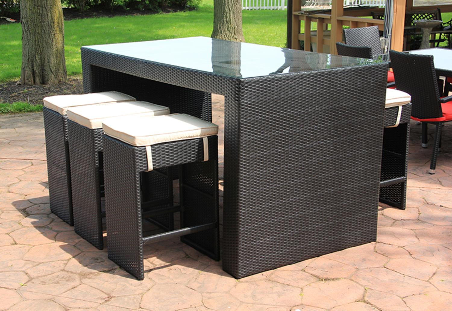 Click here to buy 7-Piece Black Resin Wicker Outdoor Furniture Bar Dining Room Set Red Cushions by CC Outdoor Living.