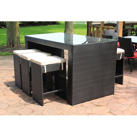 7 piece black resin wicker outdoor furniture bar dining. Black Bedroom Furniture Sets. Home Design Ideas
