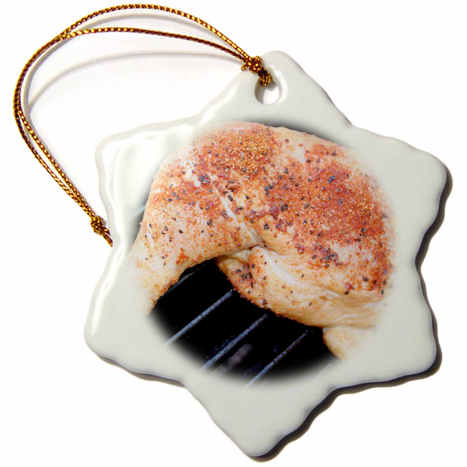 3dRose Close up of BBQ chicken with spice on it., Snowflake Ornament, Porcelain, 3-inch