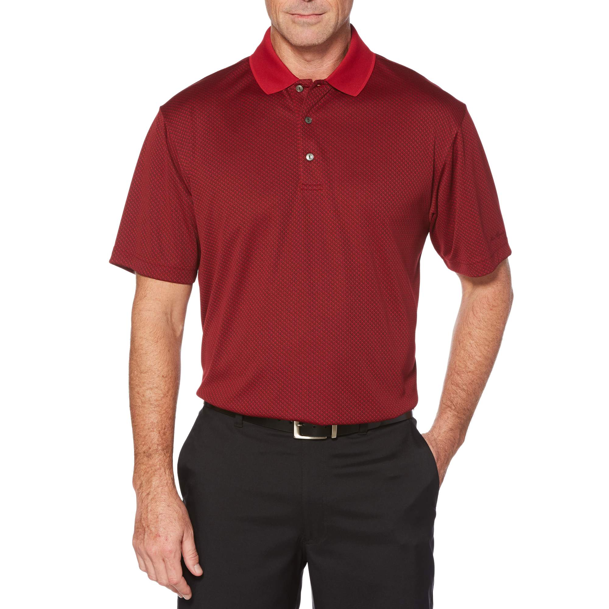Big Men's Performance Short Sleeve Jacquard Golf Polo Shirt