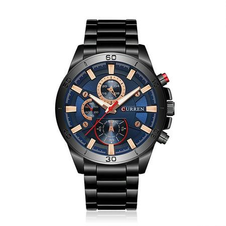 CURREN 2017 Fashion Luminous Stainless Steel Men Watch Quartz Water-Proof Man Business Wristwatch Chrono Masculino Relogio](Watch Halloween 3 2017)