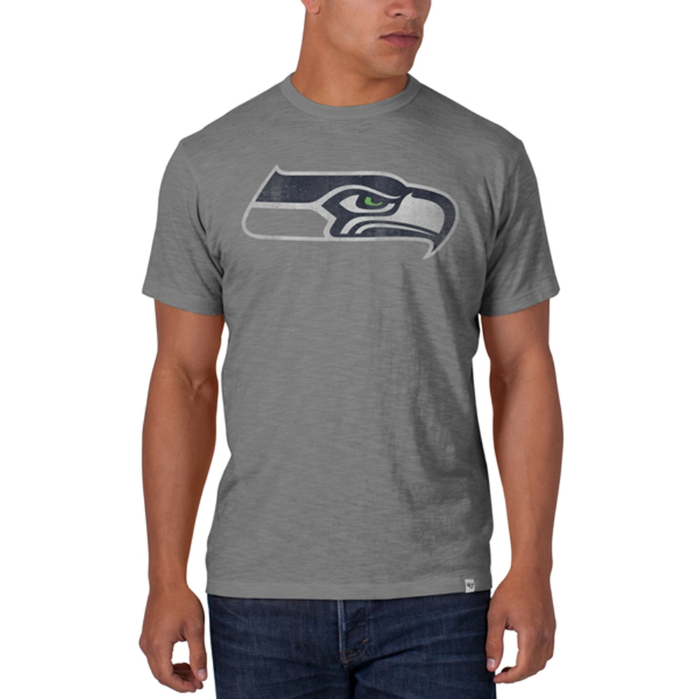 Seattle Seahawks - Logo Scrum Premium Grey T-Shirt