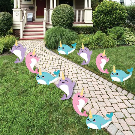 Narwhal Girl - Lawn Decorations - Outdoor Under The Sea Baby Shower or Birthday Party Yard Decorations - 10 Piece