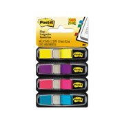 Branded 3M Post-it Small Flags in Dispensers, Four Colors, 35/Color 4 Dispensers/Pack Pack of 1