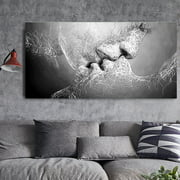 Unframed Black & White Kiss Love Art on Canvas Painting Wall Art Print Picture Wall Decor