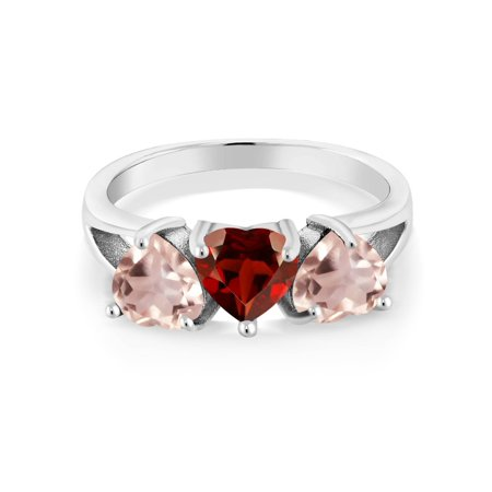 2 30 Ct Heart Shape Red Garnet Rose Rose Quartz 925 Sterling Silver
