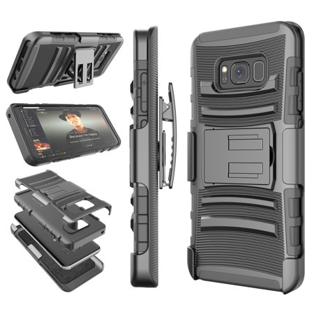 Galaxy S8 / S8 Plus Case, Samsung S8 Holster Belt, Tekcoo [Hoplite] Shock Absorbing [Black] Locking Clip Defender Heavy Full Body Kickstand Carrying Armor Cases