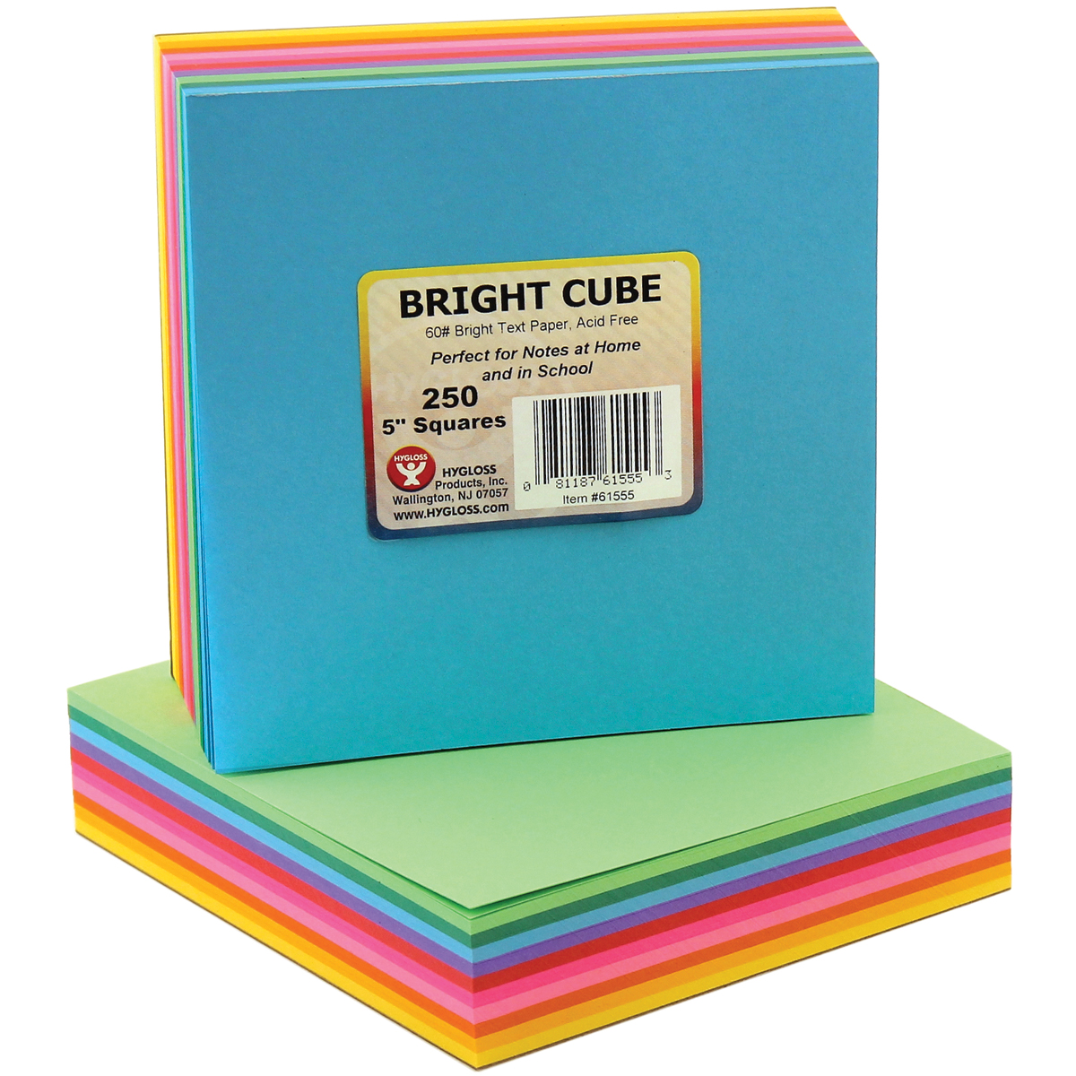 "Mighty Bright Cube Paper Pad 5""X5"" 250 Sheets/Cube-25 Sheets Each Of 10 Assorted Colors"