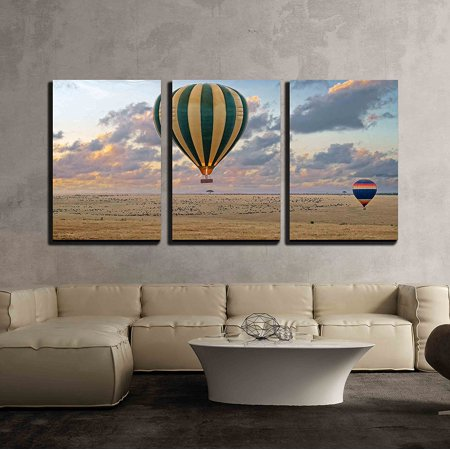 Wall26 3 Piece Canvas Wall Art Hot Air Balloon Safari Flight At