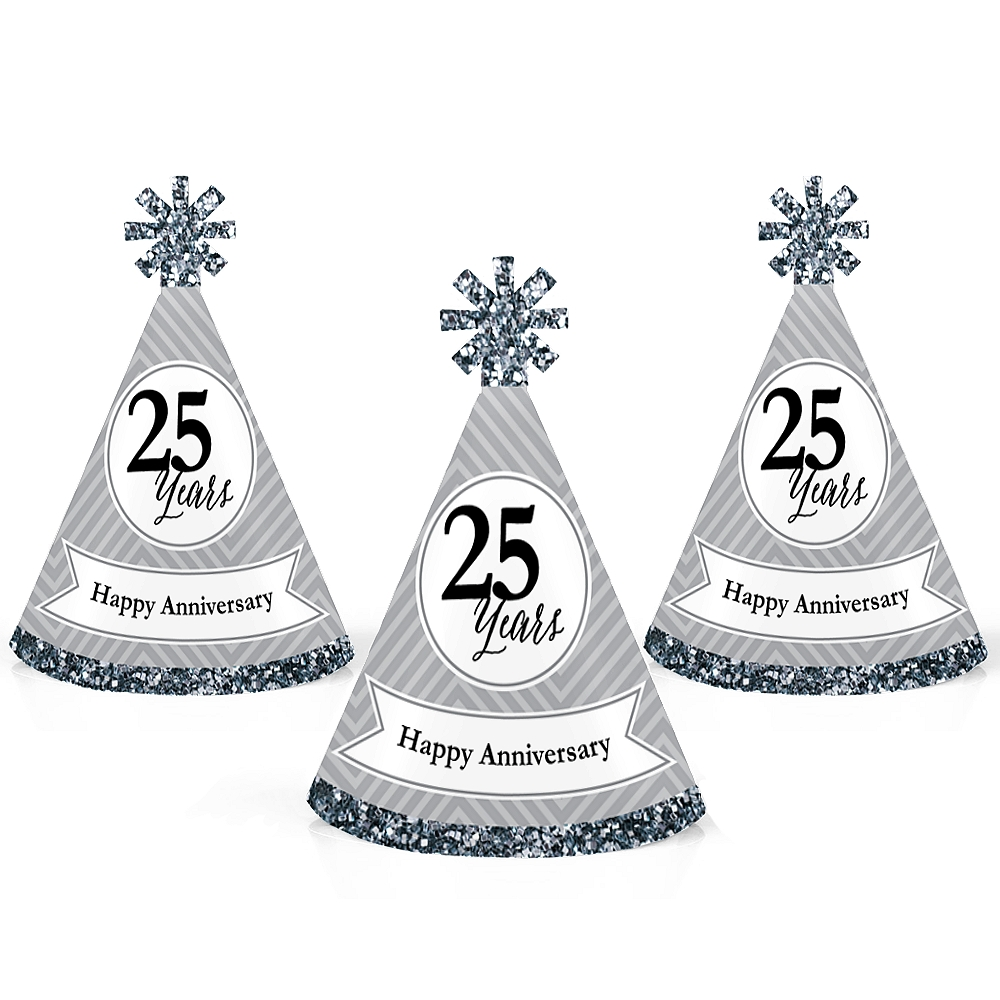 We Still Do - 25th Wedding Anniversary - Mini Cone Anniversary Party Hats - Small Little Party Hats - Set of 10
