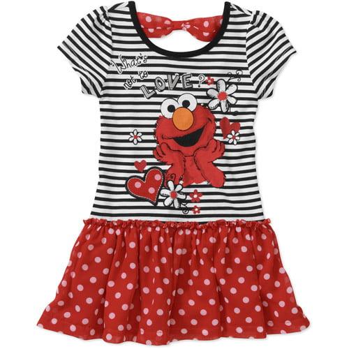 Sesame Street Baby Girls Elmo Printed Tee Chiffon Skirted