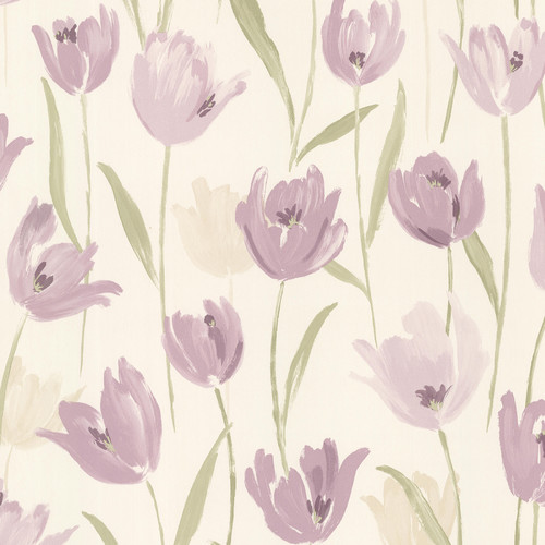 Brewster Home Fashions Kitchen & Bath Resource III Finch Tulips 33' x 20.5'' Floral 3D Embossed Wallpaper