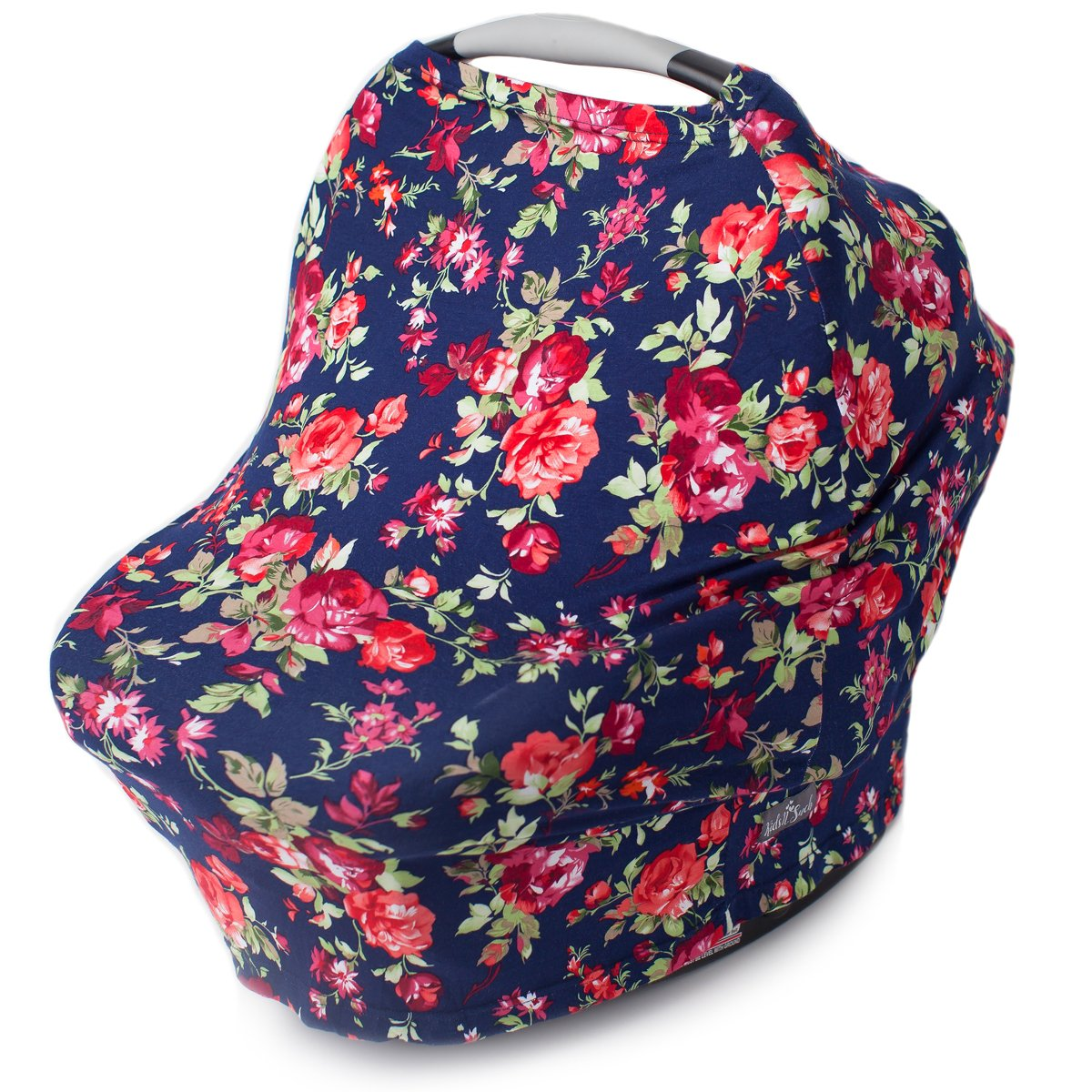 Kids N' Such Multi Use Car Seat Canopy, Nursing Cover, Shopping Cart Cover, and Breastfeeding Scarf- Vintage Navy Floral Carseat Canopy Cover for Baby Girls and Boys