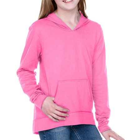 Girls 7-16 Sheer Jersey Edge Long Sleeve Hoodie with Pouch, Style GJP0629