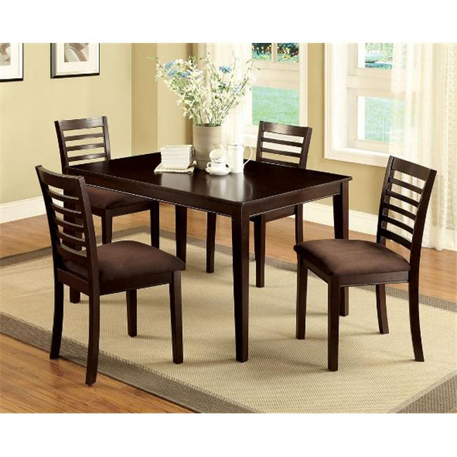 Furniture Of America IDF-3001T-5PK Eaton I Espresso Dining Table Set, 5 Pieces