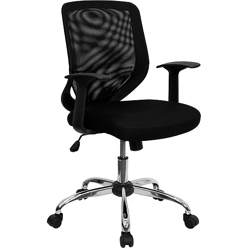 mesh office chair with t-arms, black - walmart