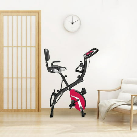 UBesGoo Folding Semi Recumbent Magnetic Upright Exercise Bike, with LCD Display and Phone Holder, for Indoor Home Gym Cardio Fitness Workout, Pink ()