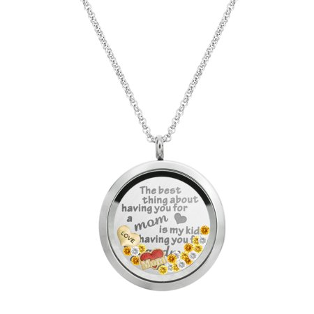 The Best Thing About Having You For A Mom Is My Kids Having You For A Grandma Stainless Steel Locket Pendant Floating Charms Necklace - Floating Charm Locket Necklace