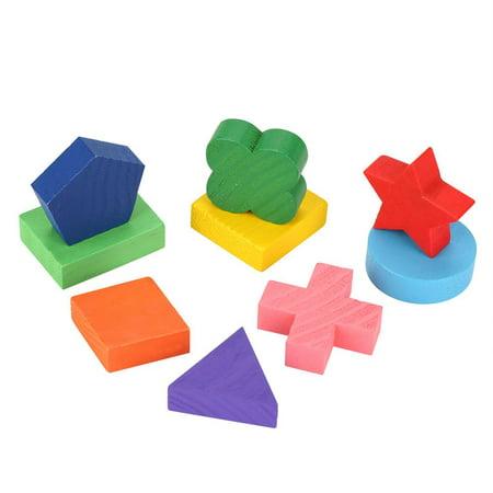 Cergrey Drôle enfants en bois forme de géométrie Puzzle en bois empilant bloc de construction apprentissage précoce jouet, jouet de bloc de construction, bloc empilable - image 3 de 7