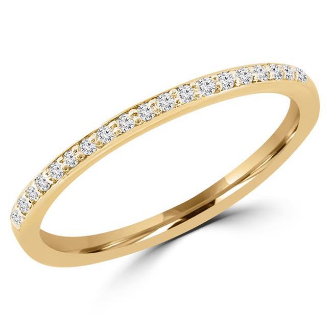 Majesty Diamonds MDR130032-6.5 0.125 CTW Round Diamond Semi-Eternity Thin Wedding Anniversary Band Ring in 14K Yellow Gold - Size 6.5 - image 1 de 1