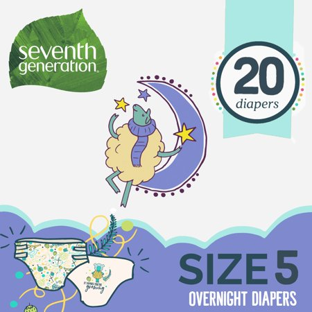 Seventh Generation Free & Clear Stage 5, 27-35 lbs Overnight Baby Diapers, 20 count ()