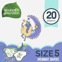 Seventh Generation Free & Clear Stage 5, 27-35 lbs Overnight Baby Diapers, 20 count