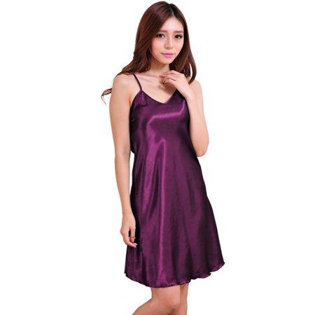 ZEFINE Women's Summer V-neck Sling Silk Spany Strap Backless Nightdress Bottoming Tank (Silk Tank Dress)