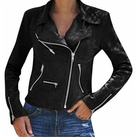 Fashion Women Summer PU Leather Jacket Coats Zip Up Biker Casual Flight Top Coat Outwear Black S (Gray Leather Jacket)