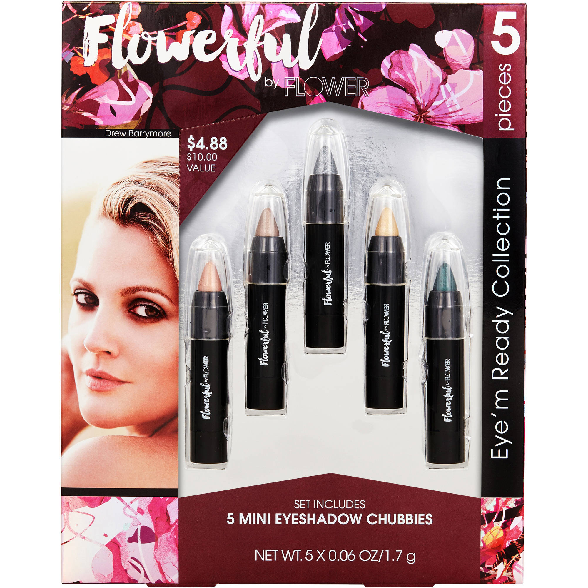 Flower Flowerful Eye'm Ready Collection Mini Eyeshadow Chubbies Gift Set, 5 pc