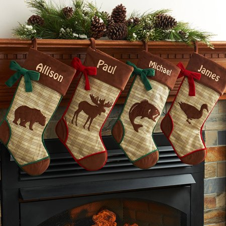 Woodland Creatures Stocking (Personalized Rustic Woodland Christmas Stocking Available In Different Animal's )