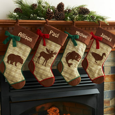 (Personalized Rustic Woodland Christmas Stocking Available In Different Animal's)