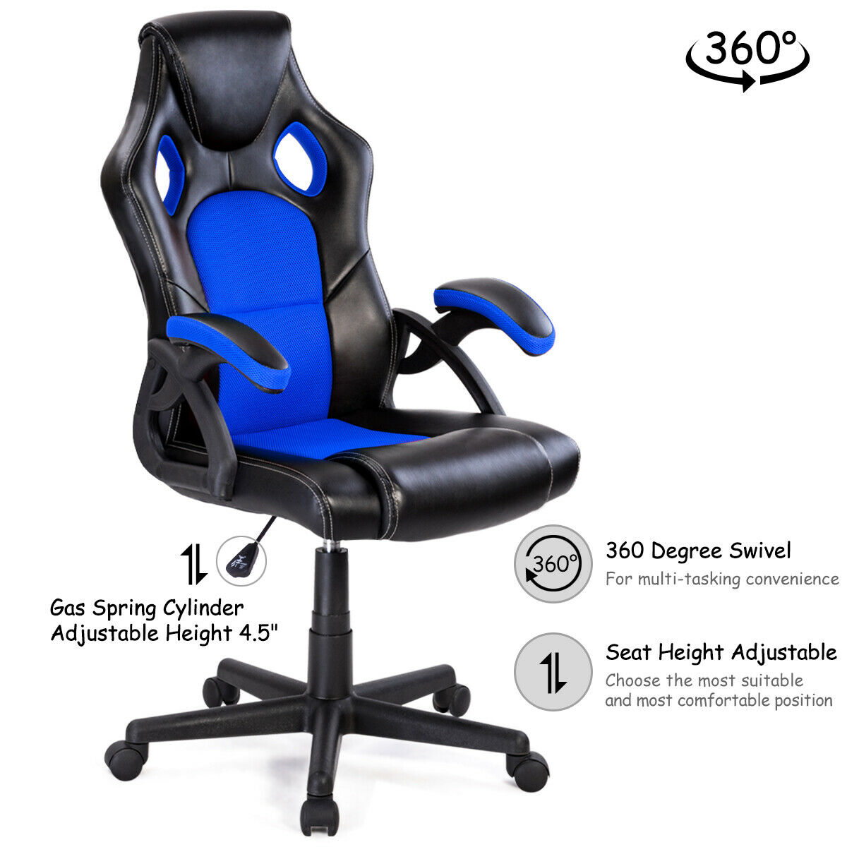 Cool Costway Pu Leather Executive Bucket Seat Racing Style Office Theyellowbook Wood Chair Design Ideas Theyellowbookinfo