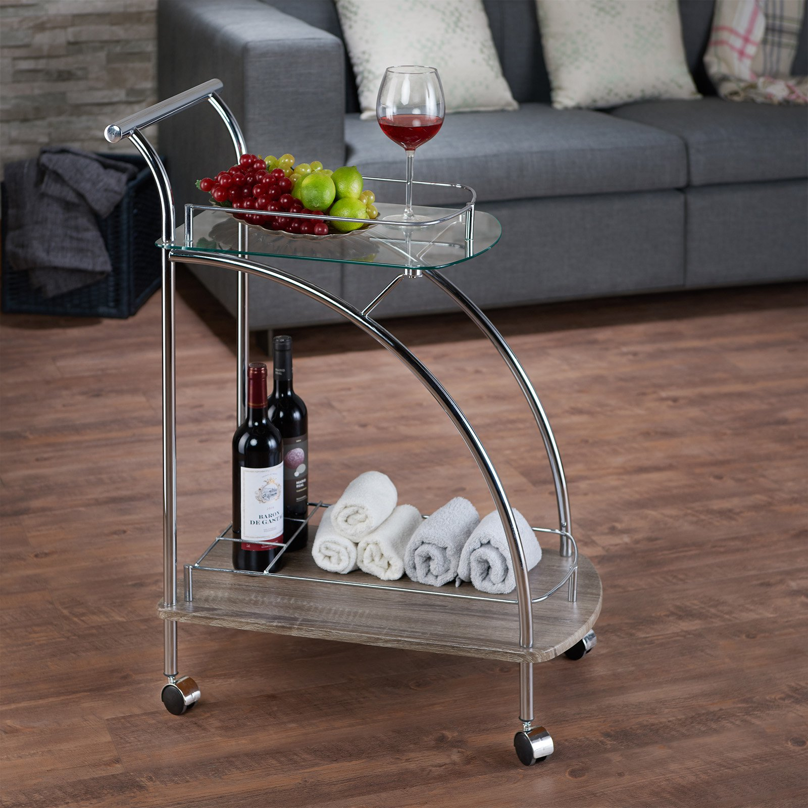 ACME Badin Serving Cart, Clear Glass & Chrome by Acme Furniture