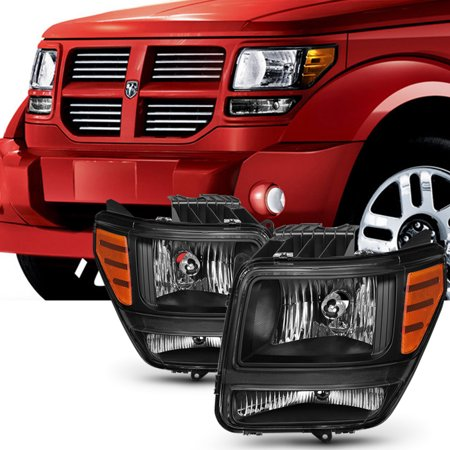 Fit 2007 2008 2009 2010 2011 Dodge Nitro Black Headlights Left & Right Side Pair