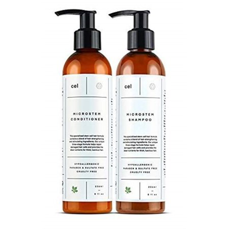 CEL MD Microstem Thickening Biotin and Arginine Shampoo & Conditioner. Hair Stimulating Stem Cell Hair Formula. Best Hair Thickening Product For Women And Men. One Month