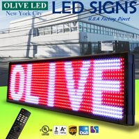 """OLIVE LED Sign 3Color RWP 15""""x53"""" IR Programmable Scroll. Message Display EMC"""