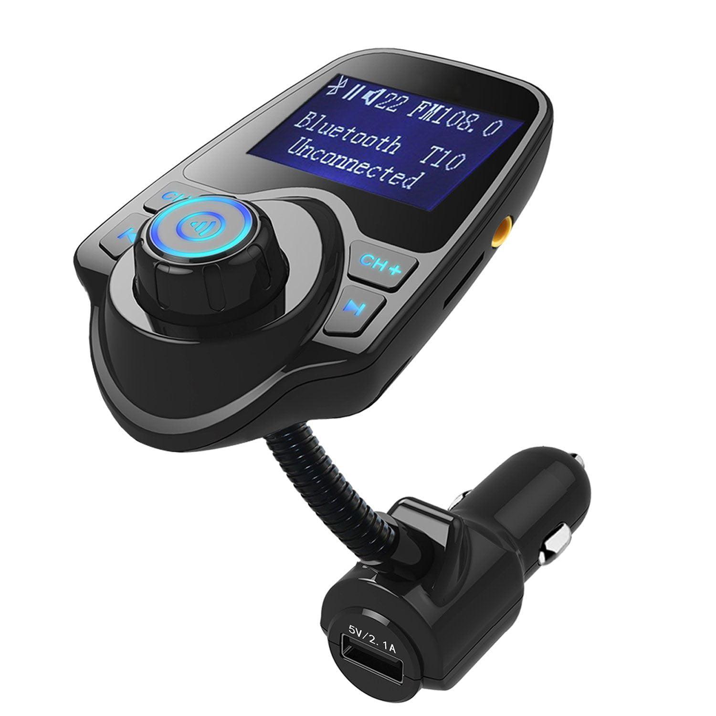 EEEKit Hand-Free Wireless In-Car Bluetooth FM Transmitter Radio Adapter Car Kit w/ TF Card Slot & USB Car Charger