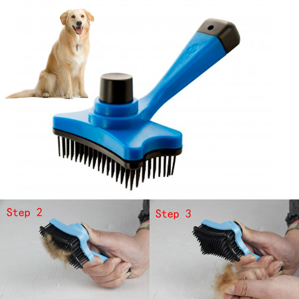 Pet Dog Cat Grooming Self Cleaning Slicker Brush Comb Hair
