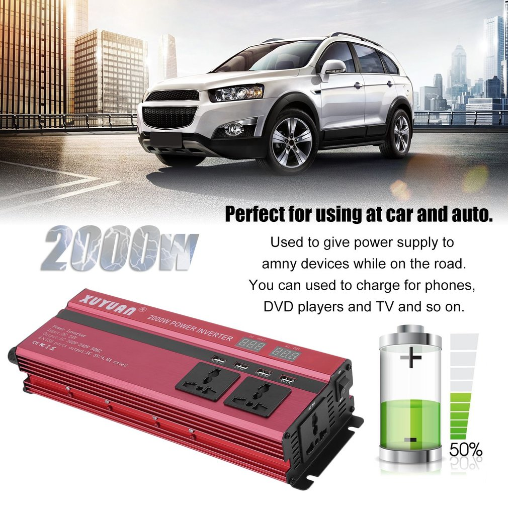 Protective Against 2000W Power Inverter USB Display Screen Converter 4-Port USB Charging Ports Car Power Inverter